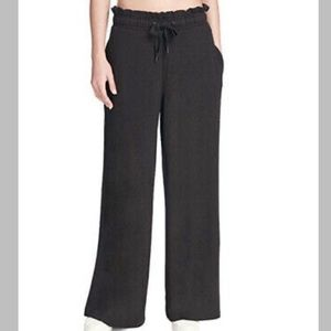 DKNY Womens Sport Ruffled Wide-Leg Pants Black